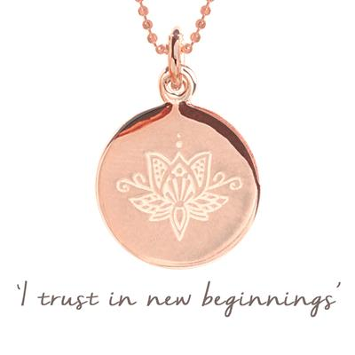 Buy Mantra Lotus New Beginnings Necklace in Rose Gold