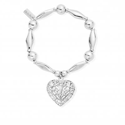 Buy ChloBo Chunky Bead Filigree Heart Bracelet