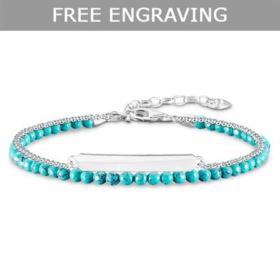 Buy Thomas Sabo Silver Turquoise Double Love Bridge Bracelet 19cm