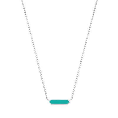 Buy Ania Haie Bright Future Teal Enamel & Silver Bar Necklace