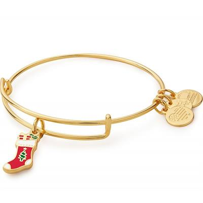 Buy Alex and Ani Stocking Colour Infusion Bangle in Shiny Gold