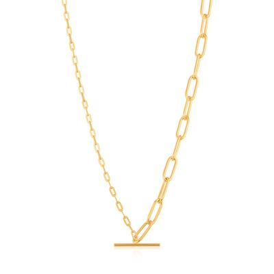 Buy Ania Haie Chain Reaction Gold Mixed Link T-Bar Necklace