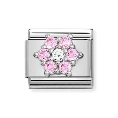 Buy Nomination Silver & Pink CZ flower Charm