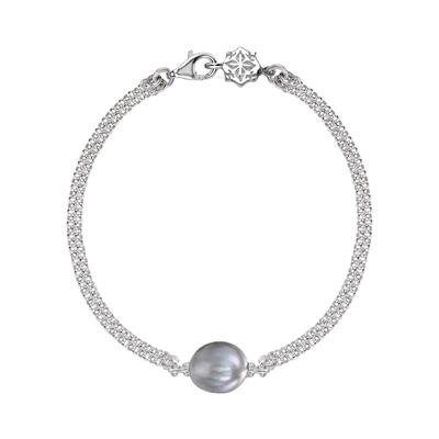Buy Dower and Hall Luna Pearl Dove Grey Pearl Chain Bracelet