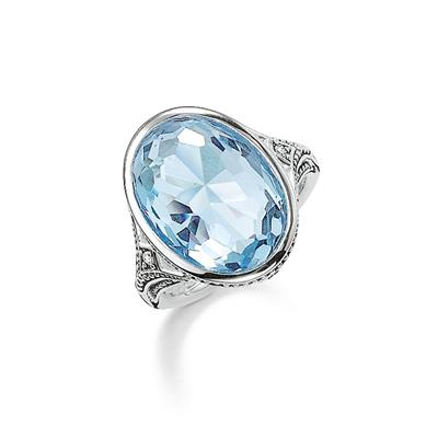 Buy Thomas Sabo Purity of Lotus Large Light Blue Ring Size 52