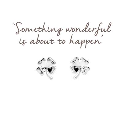 Buy Mantra Silver Clover Studs