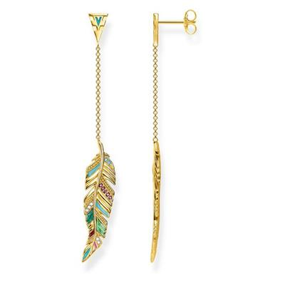 Buy Thomas Sabo Gold Multi-CZ Feather Drop Earrings