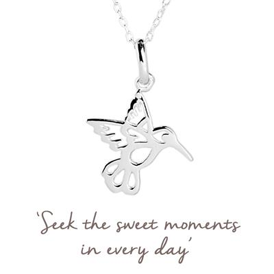 Buy Hummingbird Mantra Necklace in Silver