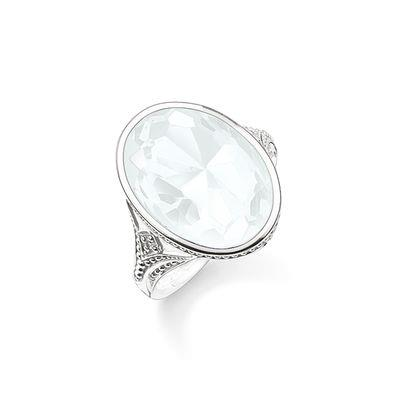 Buy Thomas Sabo Purity of Lotus Large Silver & Milky Quartz Ring Size 54