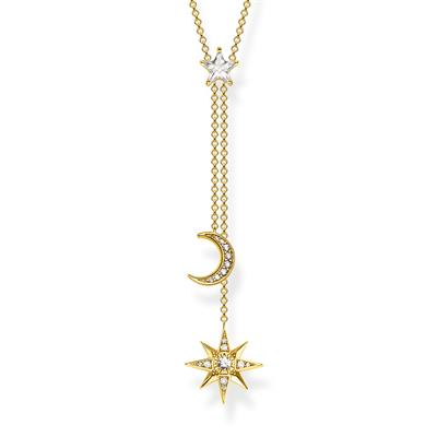 Buy Thomas Sabo Gold Moon and Star Drop Necklace