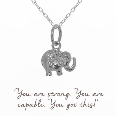 Buy Decorated Elephant Mantra Necklace in Silver