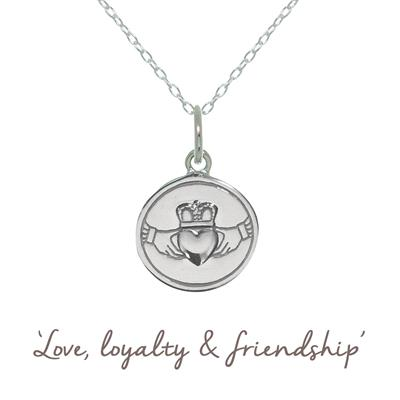 Buy Claddagh Mantra Necklace in Silver