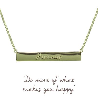 Buy Gold Happiness Mantra Bar Necklace