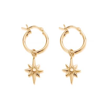 Buy ChloBo Yellow Gold Lucky Star Hoop Earrings