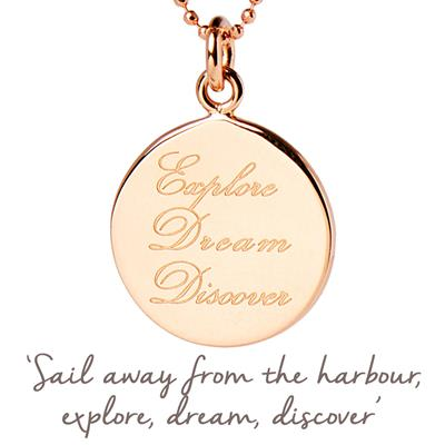 Buy Mantra Explore, Dream, Discover Necklace in Rose Gold