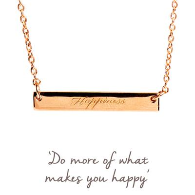 Buy Happiness Mantra Bar Necklace in Rose Gold