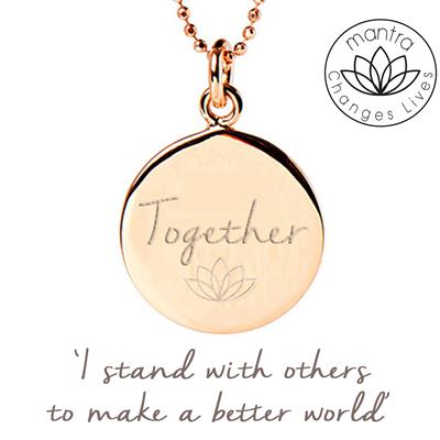 Buy Mantra Together Think Equal, Charity Necklace in Rose Gold