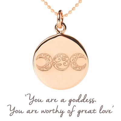 Buy Mantra Mel Wells Goddess Disc Necklace in Rose Gold