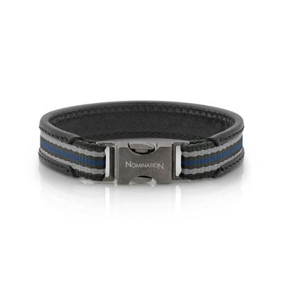 Buy Nomination Cruise Black Leather Bracelet Grey
