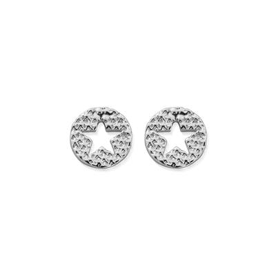 Buy ChloBo Silver Sparkle Star Round Stud Earrings