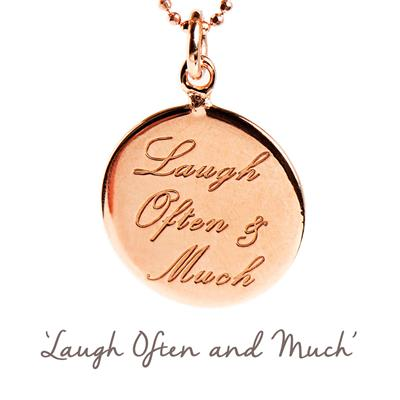 Buy Laugh Often and Much Mantra Necklace in Rose Gold