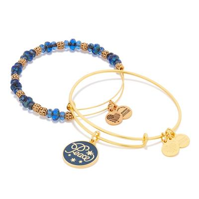 Buy Alex and Ani Peace Navy Colour Infusion Set in Shiny Gold