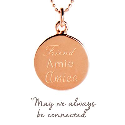 Buy Friend, Amie, Amica Mantra Necklace in Rose Gold