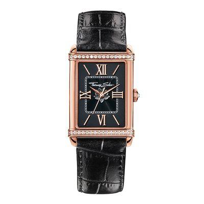 Buy Thomas Sabo Ladies Black Guilloche Leather Watch