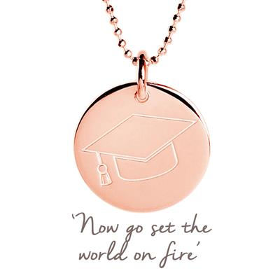 Buy Graduation Cap Mantra Disc Necklace in Rose Gold
