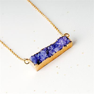 Buy Druzy Purple Agate Bar Necklace