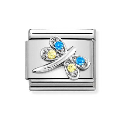 Buy Nomination Silver & Blue CZ Dragonfly Charm