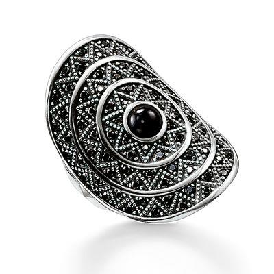 Buy Thomas Sabo Onyx and Silver Large Zig Zag Ring Size 54