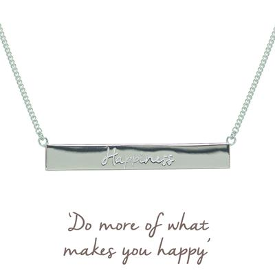 Buy Silver Happiness Mantra Bar Necklace
