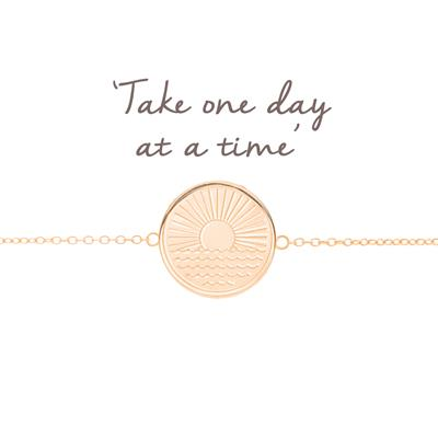 Buy Mantra One Day at a Time Sunrise Disc Bracelet in Rose Gold