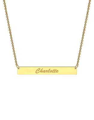Buy me.mi Bar Name Necklace in Yellow Gold