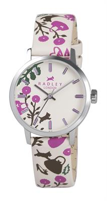 Buy Radley Ladies Cream Leather Pink Print Watch