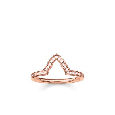Buy Thomas Sabo Fatima's Garden Rose Gold Temple Ring Size 56