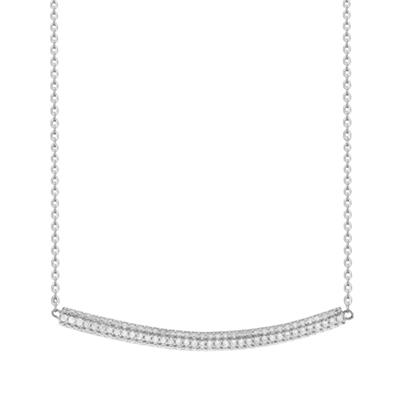 Buy Tresor Paris Quantum Cubus Sterling Silver & White Crystal Necklace