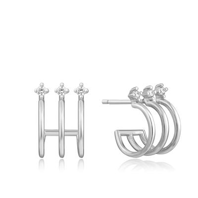 Buy Ania Haie Ear We Go Silver Triple Hoop Earrings with Cubic Zirconia