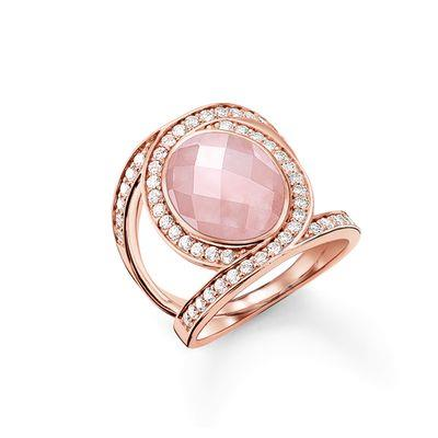 Buy Thomas Sabo Rose Gold Rose Quartz & CZ Cocktail Ring, Size 54