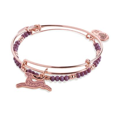 Buy Alex and Ani Oh Deer Colour Infusion Bangle Set of 2 in Shiny Rose Gold