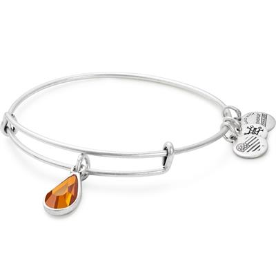 Buy Alex and Ani November Topaz Birthstone bangle in Rafaelian Silver Finish
