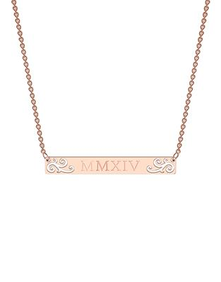 Buy me.mi Elaborate Bar Necklace in Rose Gold