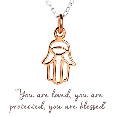 Buy Mantra Hamsa Hand Necklace Rose Gold Plated