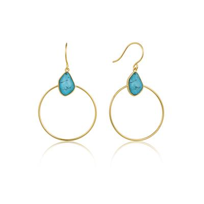 Buy Ania Haie Gold Turquoise Front Hoops