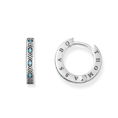 Buy Thomas Sabo Oxidised Silver Turquoise CZ Hoop Earrings