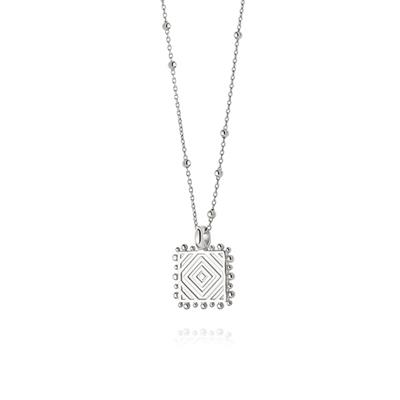 Buy Daisy Artisan Square Stamped Necklace, Sterling Silver