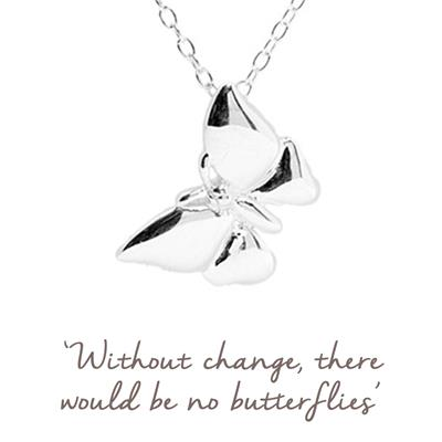 Buy Mantra Butterfly Necklace in Silver