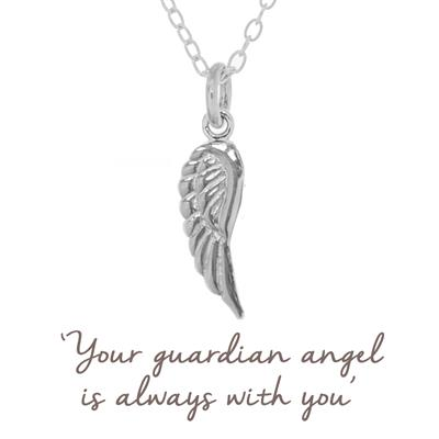 Buy Angel Wing Mantra Necklace in Silver