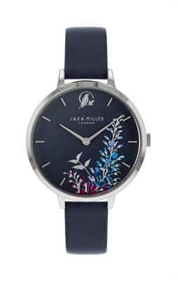 Buy Sara Miller Wisteria Watch, Silver and Navy